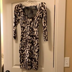 Guess leopard print mid length dress with lace